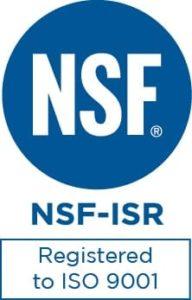 Award badge for Registered ISO 9001 NSF-ISR