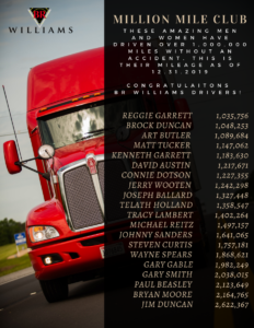 Million Mile Club List for Accident-free Truck Drivers at BR Williams