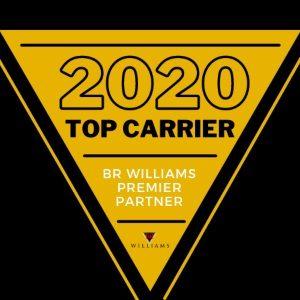 Award representing premier partner BR Williams as top carrier in 2020