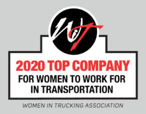 Award representing BR Williams as top company for women to work for in transportation for 2020