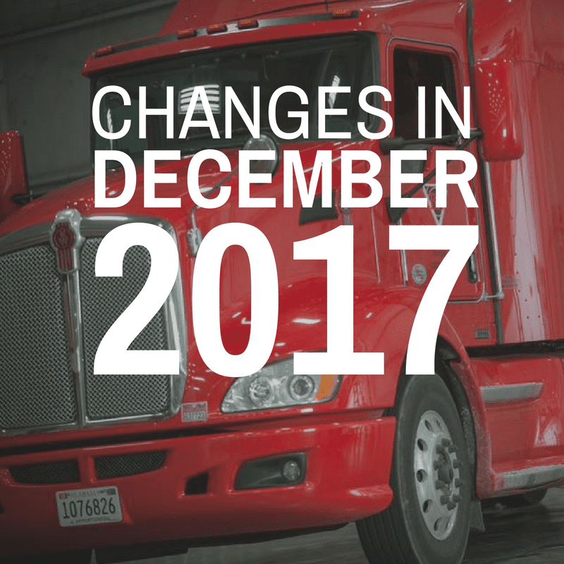ELD Mandate changes in effect December of 2017
