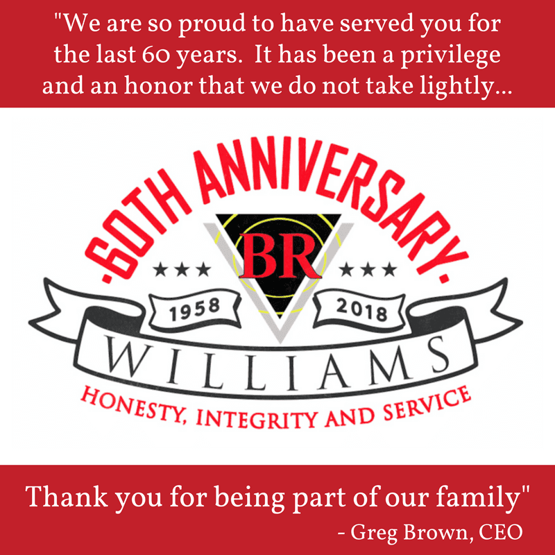 Greg Brown Thanks BR WIlliams Customers